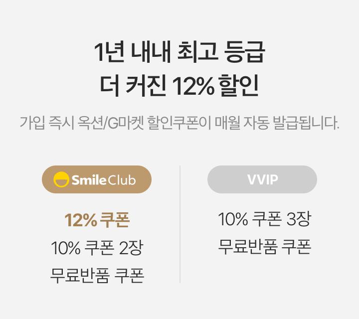 1년 내내 최고 등급 더 커진 12% 할인. 가입 즉시 옥션/G마켓 할인쿠폰이 매월 자동 발급됩니다. - SmileClub - 12% 쿠폰/10%쿠폰 2장/무료반품 쿠폰, - VVIP - 10% 쿠폰 3장/무료반품 쿠폰
