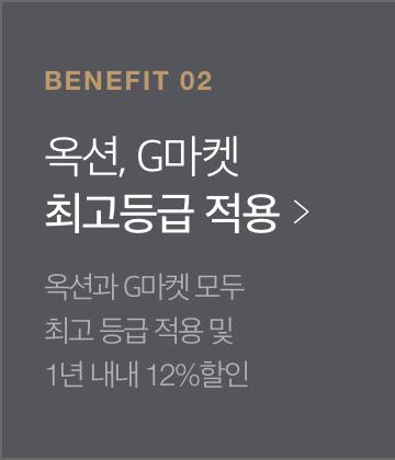 benefit 02-옥션, G마켓 최고등급 적용-옥션과 G마켓 모두 최고 등급 적용 및 1년 내내 12% 할인